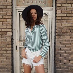 Green and White Striped Button Down